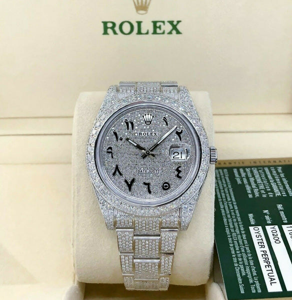 Rolex Datejust II 41mm 12 Carats Diamond Bust Down Iced Out Steel Watch 116300