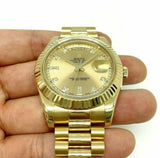 Rolex 41mm Day Date President Watch Solid 18K Gold Factory Diamond Dial 211Grams