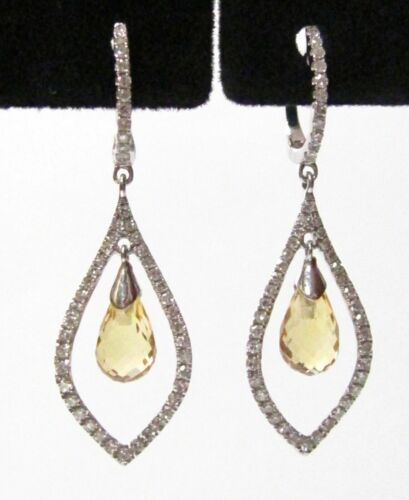 3.95 TCW Natural Pear Citrine Quartz & Diamonds Drop/Dangle Earrings 14k Gold
