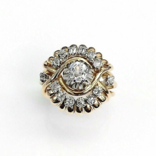 Antique 1950's 0.68 Carats t.w. Genie Diamond Ring Center is 0.35 Carat 18K Gold