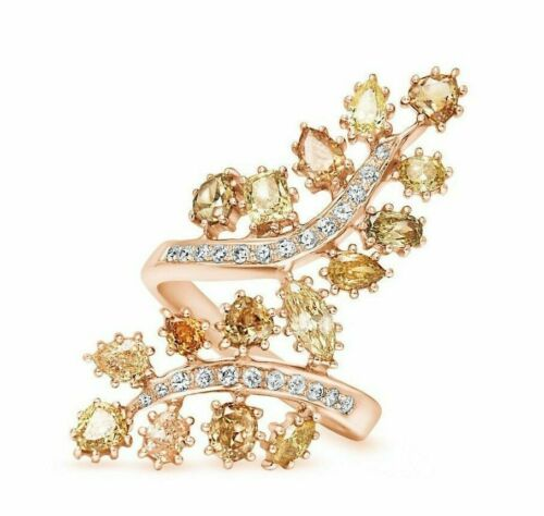 3.23 TCW Multi Color Diamond Leaves w Accent 18k Rose Gold Luxury Ring Size 6.25