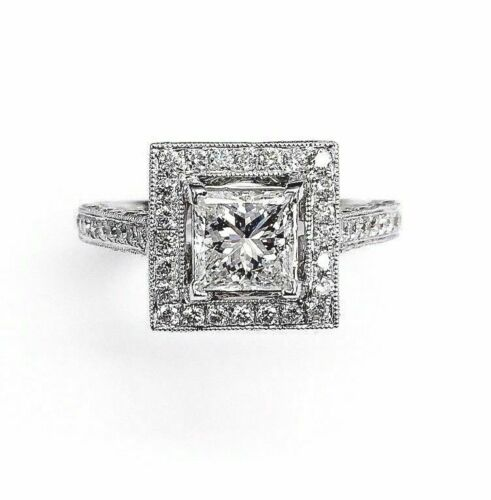 1.01Ct Princess Cut Diamond Halo Engagement Ring Size 6.25 Art Nouveau Style 14k