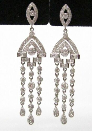 Fine 3 Row Round Cut Drop Dangling Earrings I VS2 Push Back Not Enhanced 18k W/G