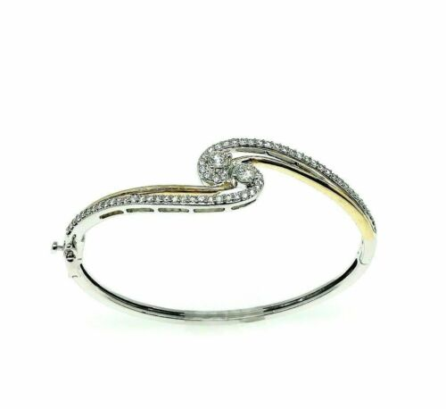 1.50 Carats t.w. Round Diamond Bypass Bangle 14 Karat Yellow White Gold