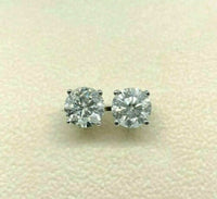 4.61 Carats t.w. Round Brilliant D/E Color Diamond Stud Earrings 14K White Gold
