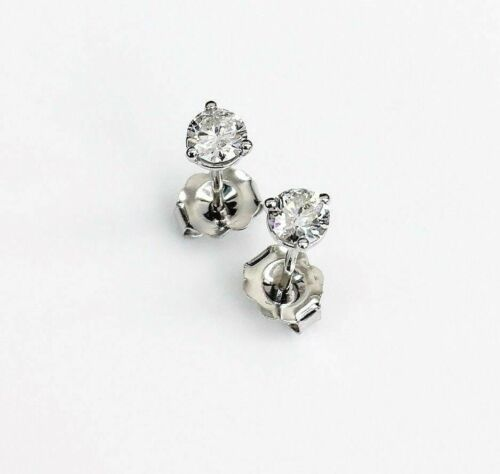 .40Ct Round Cut Diamond 3 Prong Martini Setting Stud Earrings Push Back 14k WG