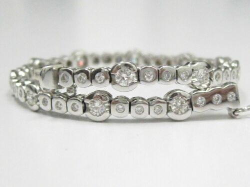 2.12 TCW Round Diamond Tennis Bracelet G-VS2-SI1 Ex Cut 18k White Gold 7.5 In
