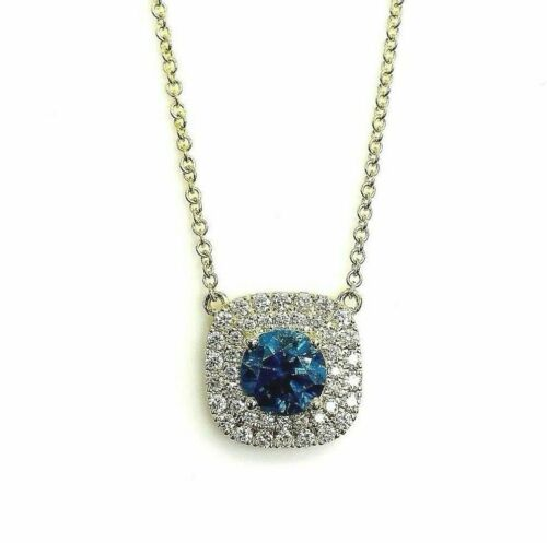 4.03 Carats t.w. Blue and White Diamond Halo Pendant w Chain 18/14K Yellow Gold