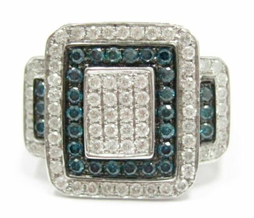 1.18 TCW Natural Round Blue & White Diamonds Square Cocktail Ring Size 7 14kt WG