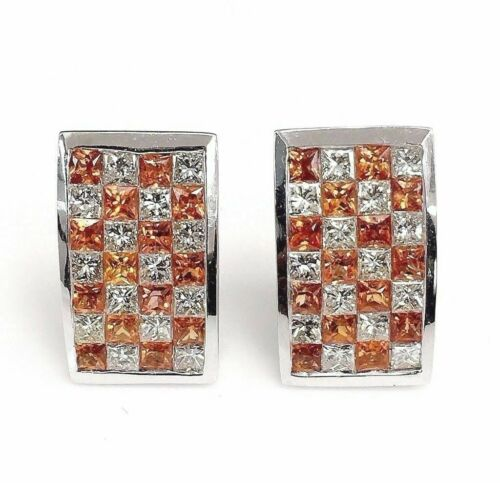 5.69 Carats t.w. Diamond and Orange Sapphire Earrings 14K Gold Invisible Set New