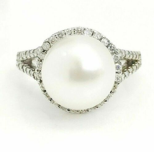 10 mm Round Pearl Ring with Halo Diamond Accents in 14K White Gold