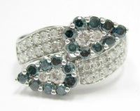 1.40 TCW Natural Round Blue & White Diamonds Leaf Cocktail Ring Size 7 14kt WG