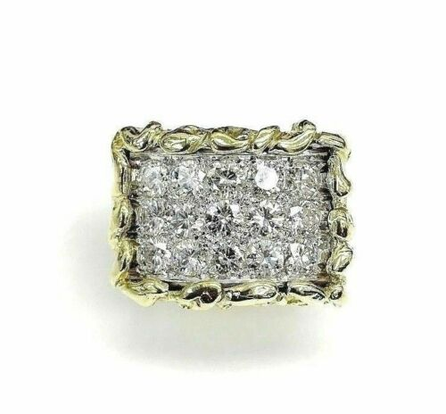 3.75 Carats t.w. Mens Diamond Nugget Ring 18K Two Tone Gold 37 Grams 0.75 x 1.10