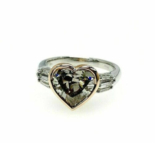 3.57 Carats t.w. Custom Made Heart Diamond Ring 3.02 Carats Fancy Brown GIA Cert