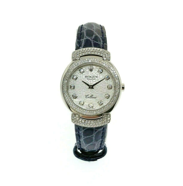 Rolex Cellini 26MM Cellissima 18k White Gold Watch 6673 All Factory Set Diamonds