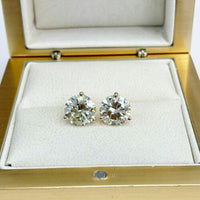 100% Natural Colorless & Shiny 4.05 Carats t.w. Diamond Stud Earrings 14KWG New