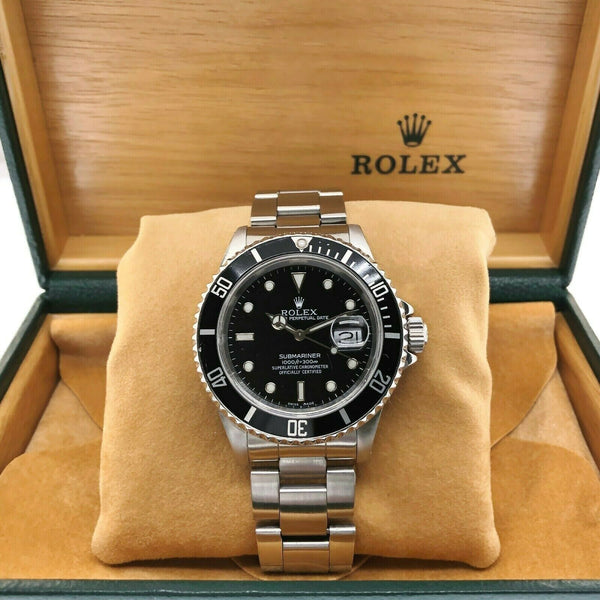 Rolex Black Submariner Date Stainless Steel Watch Ref 16610 Vintage L Serial