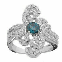 1.70Ct Round Cut Blue Diamond Center & White Accents Floral Style Cocktail Ring