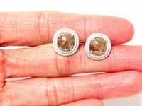 3.16Ct Cushion Cut Natural Brown Raw/Rustic Diamond Stud Earrings 14k White Gold