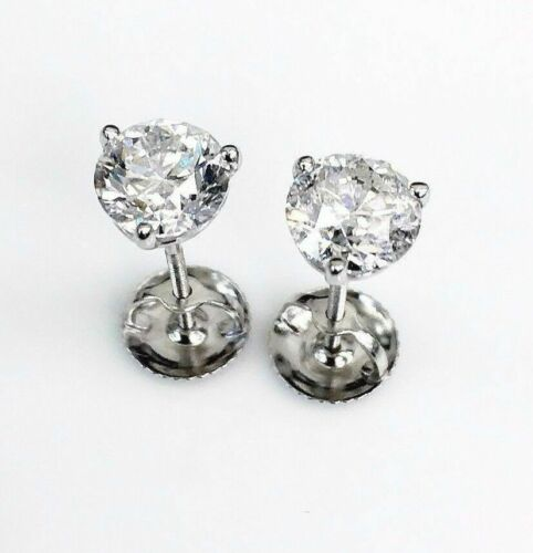 100% Natural Colorless & Shiny 1.47 Carats t.w. Diamond Stud Earrings 14KWG New