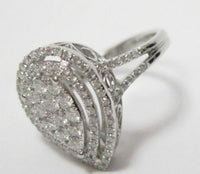 .99 TCW Round Diamonds Pear Shape Cocktail Ring Size 7 G SI-1 14k White Gold