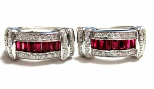 1.55 TCW Natural Baguette Red Ruby & Diamond Earrings Clip-on 14k White Gold