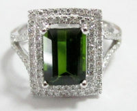 2.39 Radiant Green Tourmaline & Diamond Cocktail Ring 14k White Gold Size 6.5