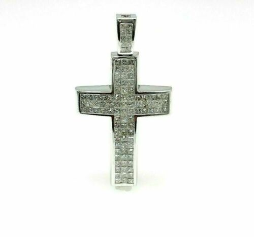 7.40 Carats t.w. Princess Cut Diamond Cross Pendant 14K Gold 2.40 x 1.30 Inch