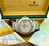 Rolex 40 MM Men's YachtMaster Platinum and Steel Watch Ref # 16622 Box Papers