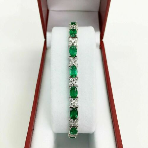 8.50 Carats t.w. Emerald and Diamond Tennis Bracelet 14KWhite Gold 6 Cts Emerald