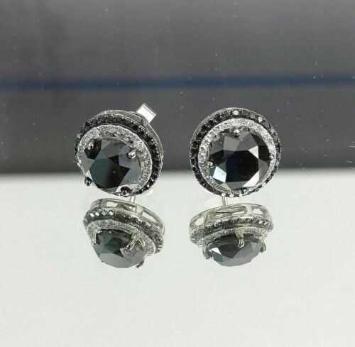 3.26 TCW Natural Round Black & White Diamonds Huggie Earrings VS2 14k White Gold