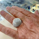 4.75 Carats t.w. Mens Diamond Dome Signet Ring 14K Yellow Gold 13.6 Grams