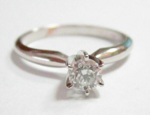 .35 TCW Round Cut Diamond Solitaire Engagement Size 5.5 H SI2 14k White Gold