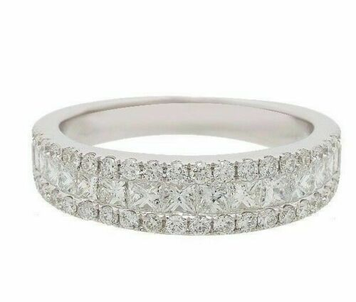 3 Row 1.10 TCW Princess & Round Cut Diamond Band Size 6.5 F VS2 18k White Gold