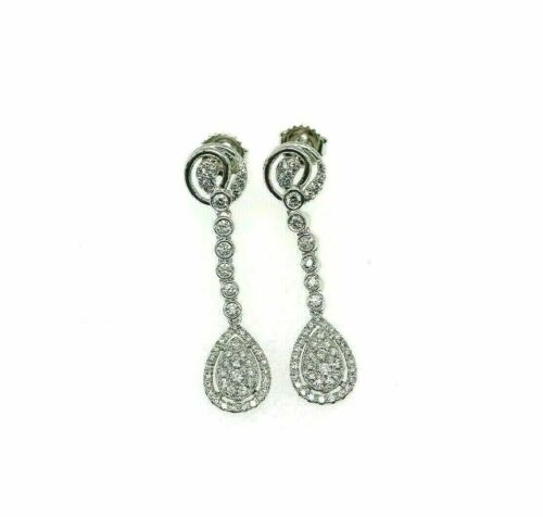 1.15 Carats t.w. Diamond Halo Dangle Earrings 18 Karat White Gold Brand New