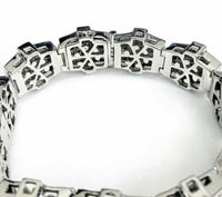 Men's 21.40 Carats Princess Cut Invisible Set and Round Diamond Bracelet 14K