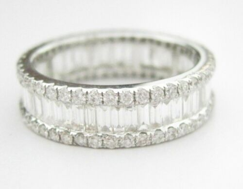 2.32 TCW Baguette & Round Cut Eternity Diamond Band/Ring G VS-2 Size 6.5 18k WG