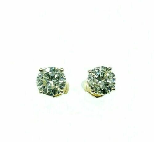 2.41 Carats t.w. round Brilliant Diamond Stud Earrings 14K Yellow Gold Settings