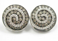 1.74 TCW Natural Round Swirl Fancy Color Champagne Diamond Earrings 14k