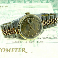 Rolex 36MM Diamond Datejust Watch 18K Yellow Gold Stainless Steel Ref 16233 1993