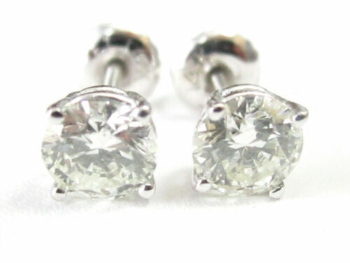 1.19 TCW Round Brilliant Cut Diamond Stud Earrings G SI1 14k White Gold