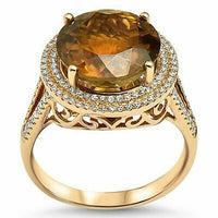 6.48 TCW Natural Round Tourmaline & Diamond Accents Ring Sz 6.5 14k Yellow Gold