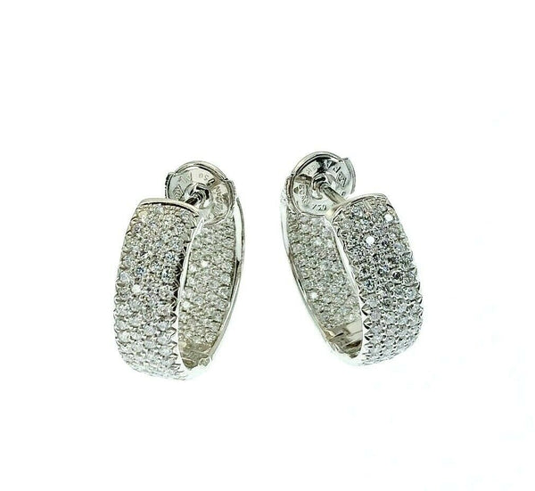 2.05 Carats t.w. Inside Out 4 Row Pave Set Diamond Hoop Earrings 18k Gold 6.5mm