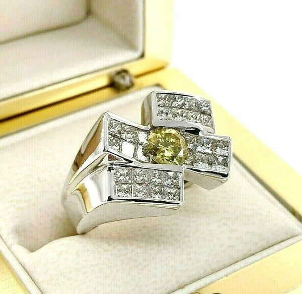2.80 Carats t.w. White and Fancy Yellow Diamond Invisible Set Men's Ring 14K