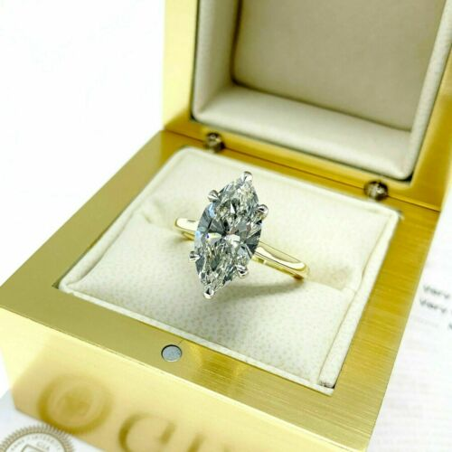 3.01 Carats GIA J SI1 Marquise Diamond UnderHalo Solitaire Wedding Ring 18K Plat