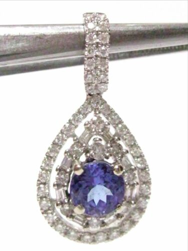FINE 18kt WHITE GOLD TANZANITE & DIAMOND PENDANT