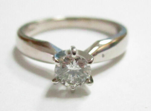 .45 TCW Round Cut Diamond Solitaire Engagement Ring Size 5.5 F SI2 14k WhiteGold
