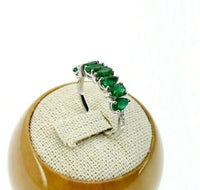 Fine 1.42 Carats t.w. Diamond and Emerald Anniversary Ring May Birthstone 14K