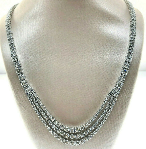 Custom Made 24.75 Carats Diamond Gala Dinner Eternity Necklace 18K White Gold