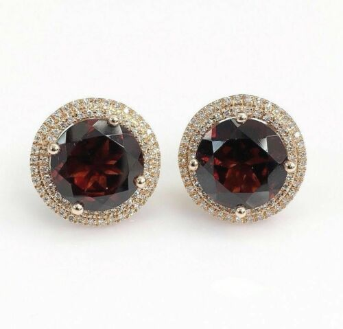 8.38 Carats t.w. Garnet and Diamond Double Halo Stud Earrings 14K Rose Gold New